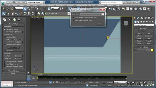 Adding an animation override: Creating Simulations in MassFX and 3ds Max