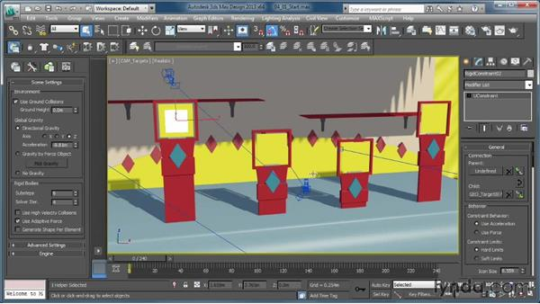 Adding a rigid constraint and creating breakability: Creating Simulations in MassFX and 3ds Max