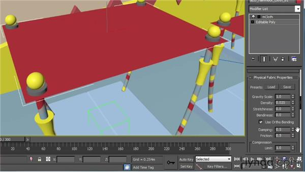 Setting up the hammock's physical properties: Creating Simulations in MassFX and 3ds Max