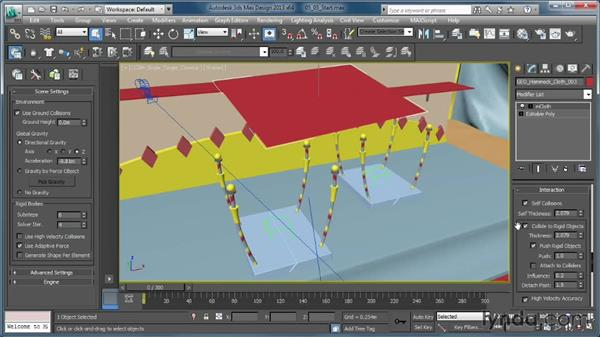 Working with the mCloth interaction controls: Creating Simulations in MassFX and 3ds Max