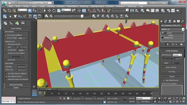 Attaching the hammock to animated objects: Creating Simulations in MassFX and 3ds Max