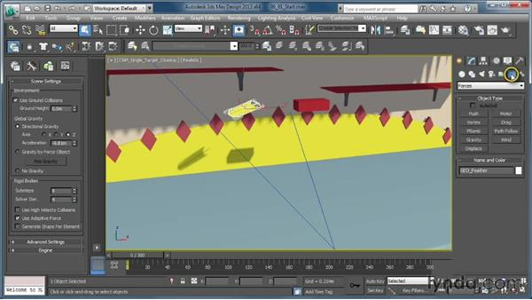 Adding forces to a simulation: Creating Simulations in MassFX and 3ds Max