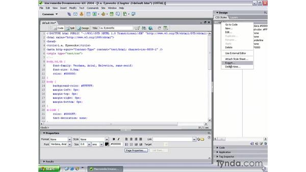 CSS page properties: Dreamweaver MX 2004 Beyond the Basics