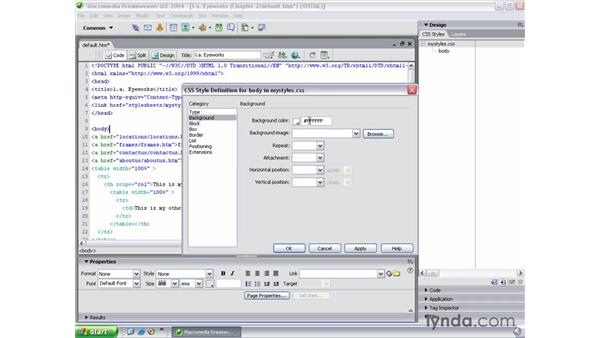 externalizing CSS page properties: Dreamweaver MX 2004 Beyond the Basics