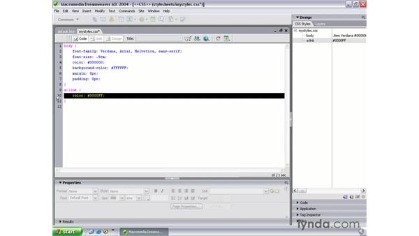 styling links with CSS: Dreamweaver MX 2004 Beyond the Basics