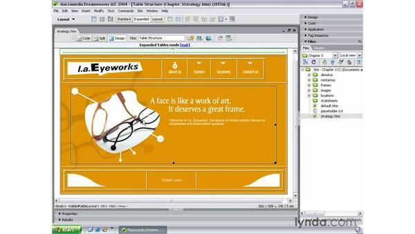 layout strategy: Dreamweaver MX 2004 Beyond the Basics