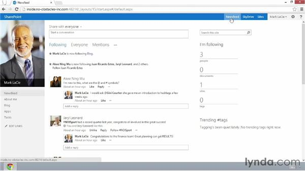 Viewing your newsfeed page: SharePoint 2013 New Features