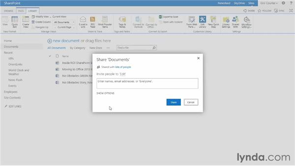 Sharing documents, libraries, and sites: SharePoint 2013 New Features