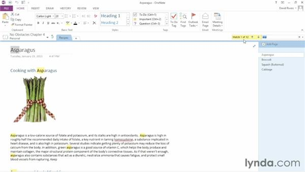 Searching a notebook: OneNote 2013 Essential Training