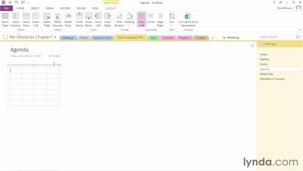 Creating a table: OneNote 2013 Essential Training