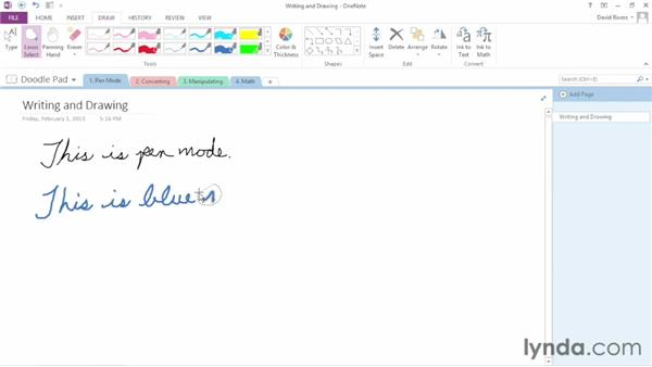 Working in Pen mode: OneNote 2013 Essential Training