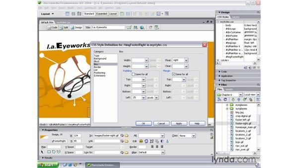 building the footer: Dreamweaver MX 2004 Beyond the Basics
