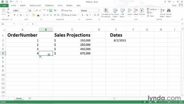 Entering a data series using the fill handle: Excel 2013 Power Shortcuts