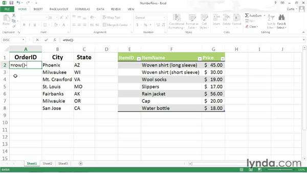 Numbering rows in a range or table: Excel 2013 Power Shortcuts