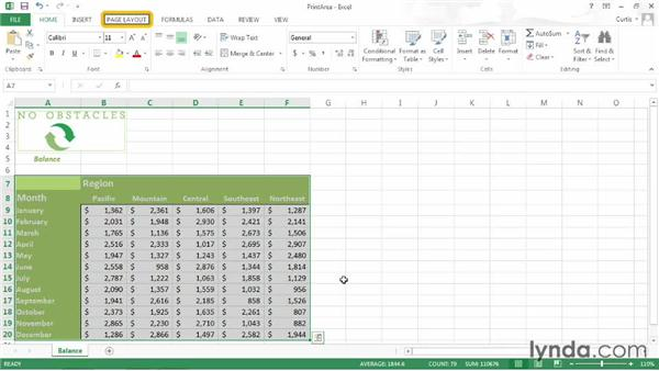 Setting a print area: Excel 2013 Power Shortcuts