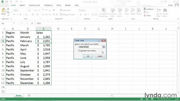 Creating a table using Ctrl+L: Excel 2013 Power Shortcuts