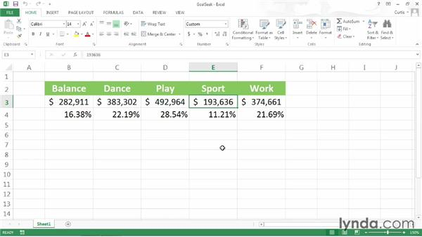 Finding a target value: Excel 2013 Power Shortcuts