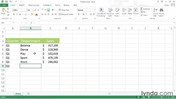 Picking data from a list: Excel 2013 Power Shortcuts