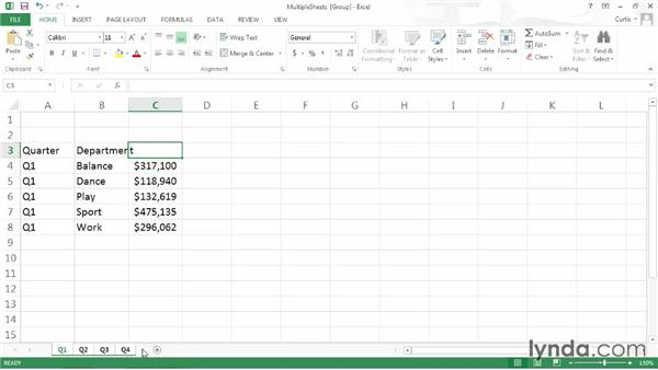 Entering data into cells across multiple sheets: Excel 2013 Power Shortcuts