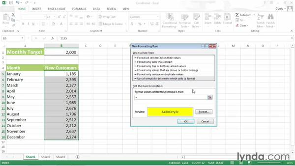 Basing conditional formats on a formula: Excel 2013 Power Shortcuts