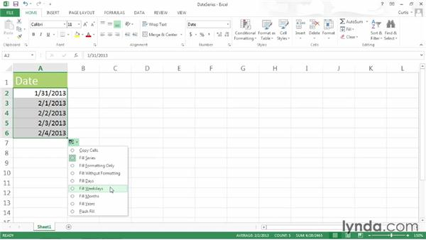 Extending a date series: Excel 2013 Power Shortcuts