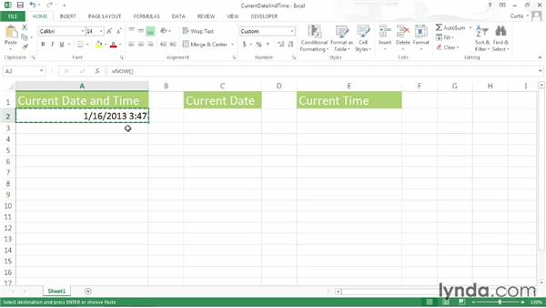 Inserting the current date or time: Excel 2013 Power Shortcuts