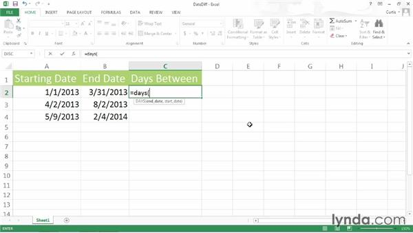 Calculating days between dates: Excel 2013 Power Shortcuts