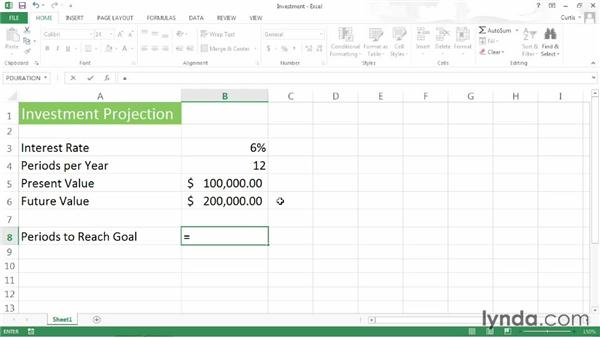 Calculating time to reach an investment goal: Excel 2013 Power Shortcuts