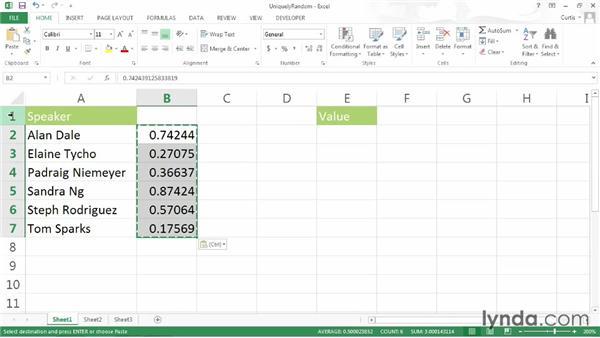 Generating a list of unique random numbers: Excel 2013 Power Shortcuts