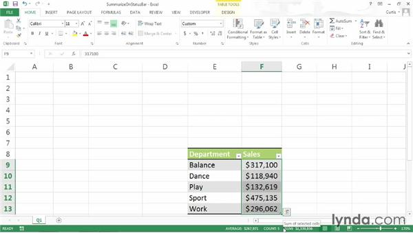 Summarizing data on the status bar: Excel 2013 Power Shortcuts