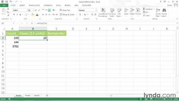 Calculating remainders and whole units: Excel 2013 Power Shortcuts