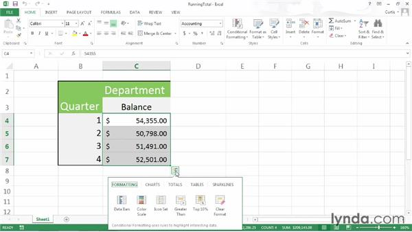 Calculating running totals: Excel 2013 Power Shortcuts