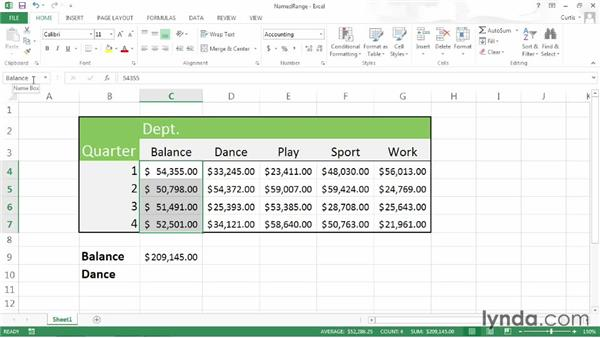 Creating and selecting named ranges quickly: Excel 2013 Power Shortcuts