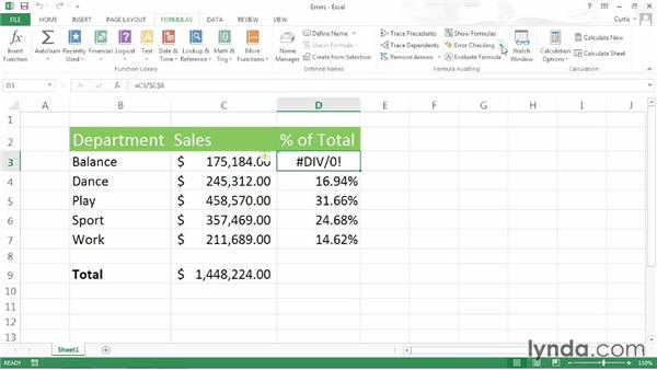 Analyzing a formula for errors: Excel 2013 Power Shortcuts