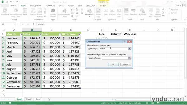 Summarizing data using a sparkline: Excel 2013 Power Shortcuts