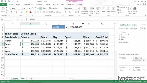 Using a PivotTable value in a formula: Excel 2013 Power Shortcuts