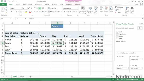 Drilling down into PivotTable data: Excel 2013 Power Shortcuts