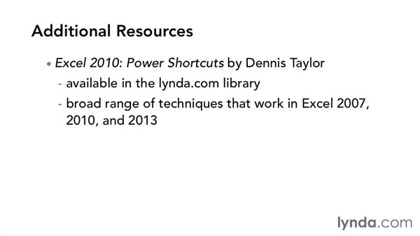 Additional resources: Excel 2013 Power Shortcuts
