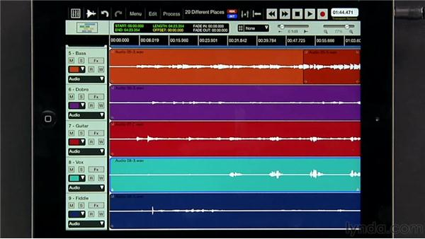 Selecting regions: iPad Music Production: Auria