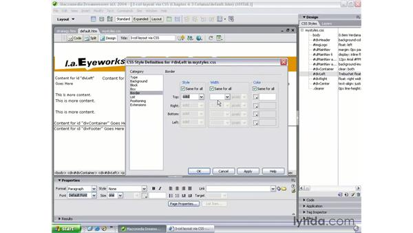 3 column content and columns: Dreamweaver MX 2004 Beyond the Basics