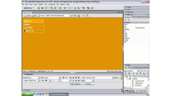 creating accesskeys: Dreamweaver MX 2004 Beyond the Basics