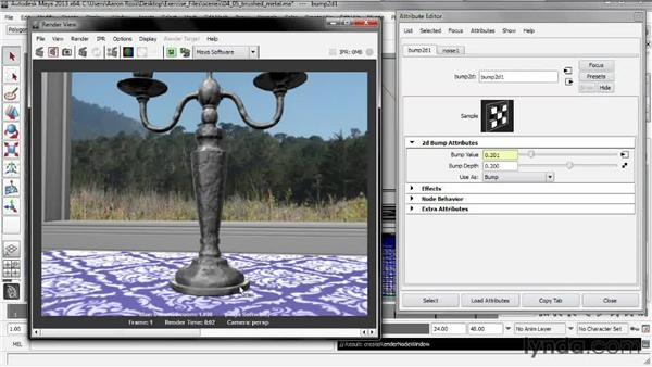 Creating brushed metal with a bump map: Creating Shader Networks in Maya and mental ray