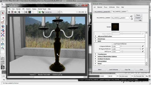 Controlling the bidirectional reflectance distribution function (BRDF): Creating Shader Networks in Maya and mental ray
