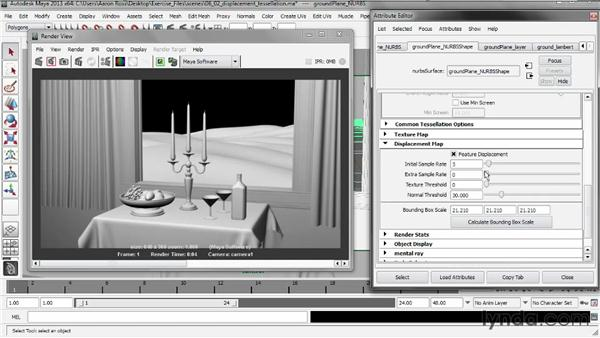 Controlling displacement tessellation: Creating Shader Networks in Maya and mental ray