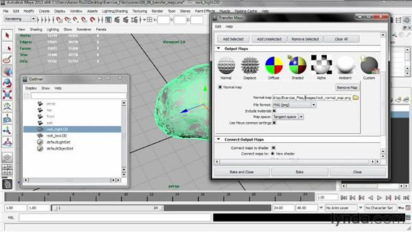 Generating a normal map with Transfer Maps: Creating Shader Networks in Maya and mental ray