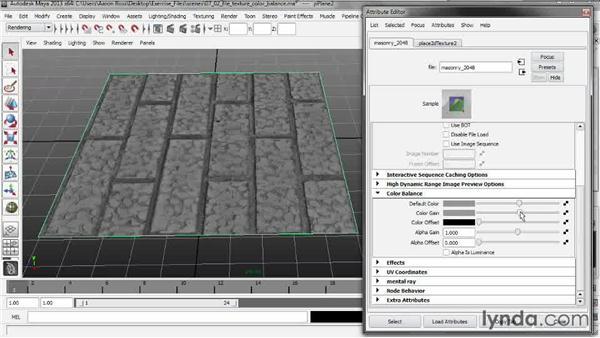 Adjusting file texture color balance: Creating Shader Networks in Maya and mental ray