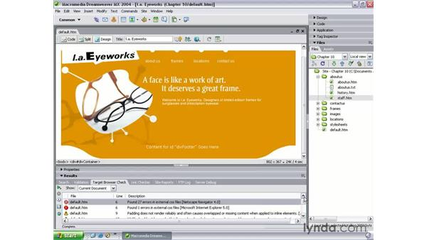 checking target browsers: Dreamweaver MX 2004 Beyond the Basics