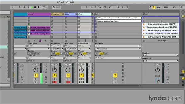 Creating a bus track for master effects: Ableton Live 9 for Live Performance