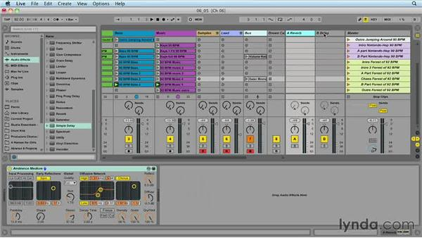Using return tracks for time-based effects: Ableton Live 9 for Live Performance