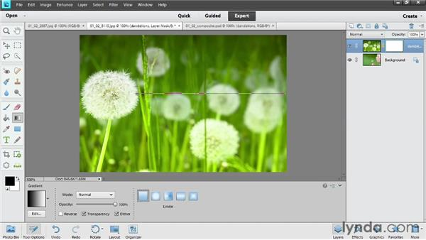 Blending images with layer masks: Photoshop Elements 11 Essentials: 04 Creative Effects and Projects
